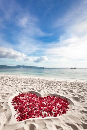 Corazón de los pétalos de rosas en la playa arenosa tropical. Nadie. Concepto del amor Foto de archivo
