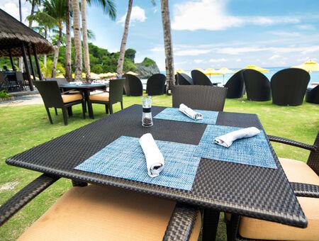 Restaurant on resort beach photo