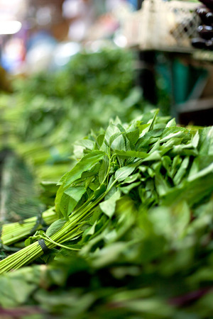 chinese spinach: Morning glory vegetable on sale at local Philippines market Stock Photo