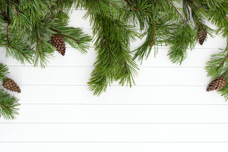 Decorated pine branches at left side with cones on white wooden table photo