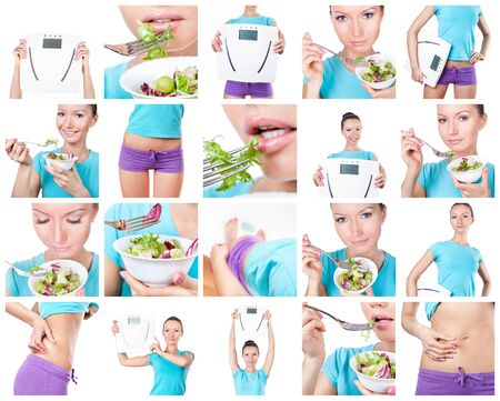 Diet and sport collage. Woman with scales and salad on white  photo