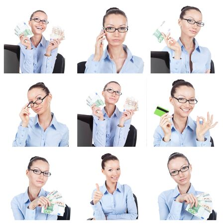 Business collage. Different businesswoman portraits on white photo