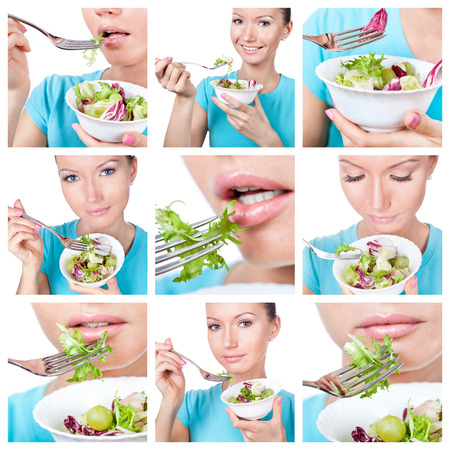 Diet and sport collage. Woman with fresh salad  photo