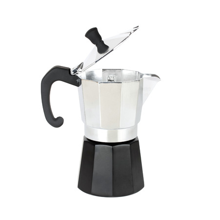 percolator: Open coffeepot closeup on white background