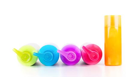 productos de belleza: Botellas de loción de neón multicolores con bomba dispensador