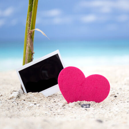 Empty photo card with heart on sandy beach near young palm tree. Memory Travel Concept photo