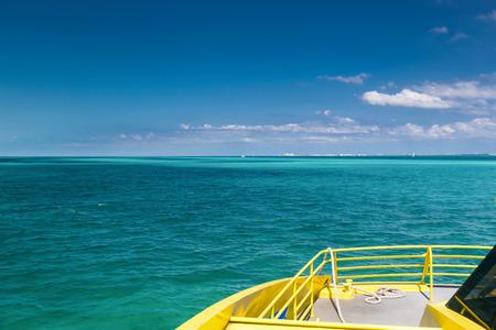 mujeres: Yellow catamaran in caribbean sea, Cancun, Mexico Stock Photo