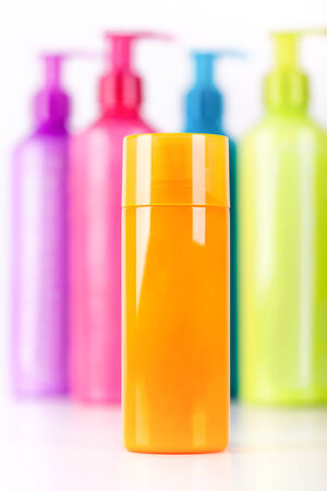 multicoloured: Multicoloured neon lotion bottles with dispenser pump