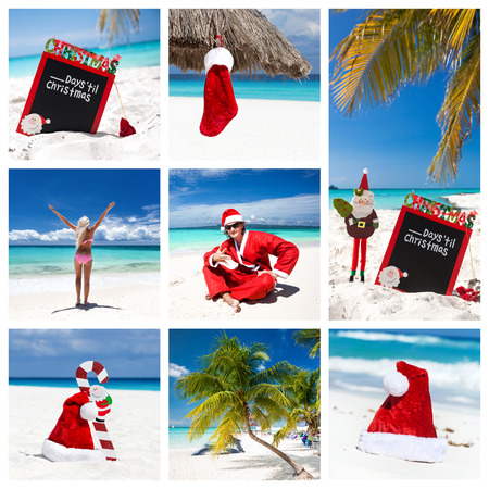 Christmas collage with different views on caribbean beach photo