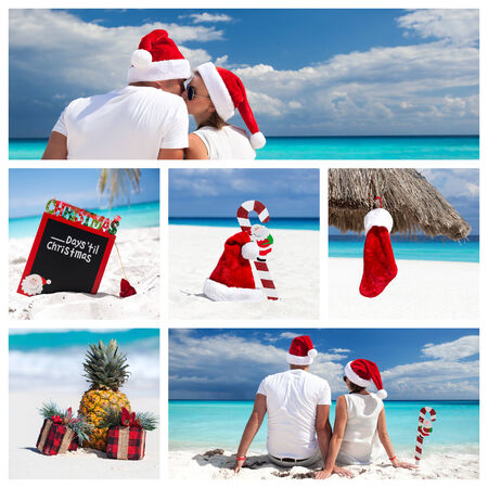 bahamas celebration: Christmas collage with different views on caribbean beach