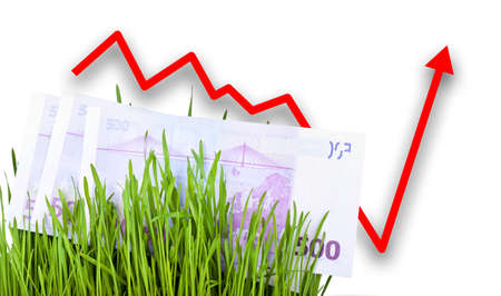 euro money: Growing Euro money cash in green grass, Arrow rising up