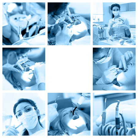 Dentist collage with different views at stomatology clinic photo