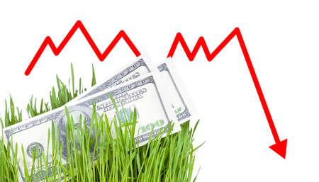 falling down: 100 dollar bills growing in the green grass, Arrow falling down
