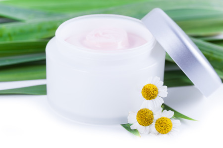 extract: Skincare creams with camomile extract Stock Photo