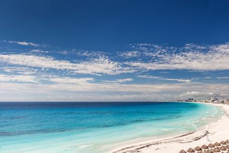 beach panorama: Cancun beach panorama view in Mexico Stock Photo