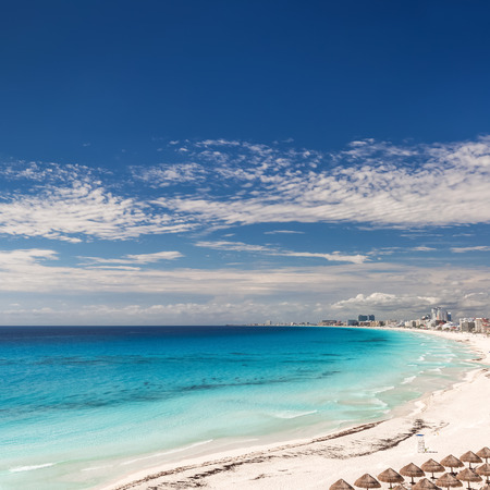 beach panorama: Cancun beach panorama view, Mexico