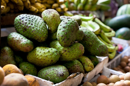 philippines: Soursop fruit at asian market, Philippines. Annona muricata in assortment on sale