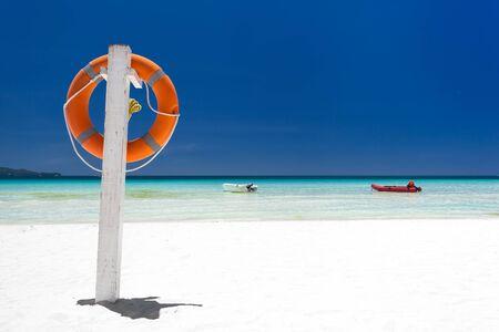 boracay: Lifebuoy ring on tropical beach, Boracay