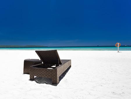 boracay: Beach bed on tropical coastline, Philippines, Boracay Stock Photo