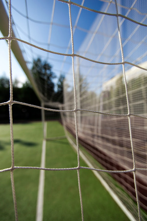 soccer net: Soccer net on goal, closeup Stock Photo