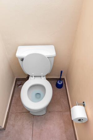 White toilet bowl and toilet paper in a bathroom interior photo