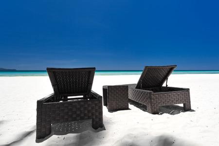 boracay: Beach beds on tropical coastline, Philippines, Boracay Stock Photo