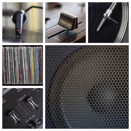 Music club collage with different dj tools photo