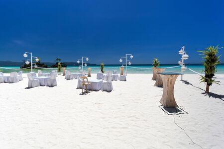 bahamas celebration: Wedding decoration on tropical beach