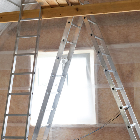 rockwool: Inside wall insulation in wooden house,  building under construction
