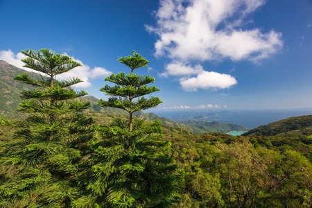 panorama view: Montagne con vista mare panoramica Archivio Fotografico