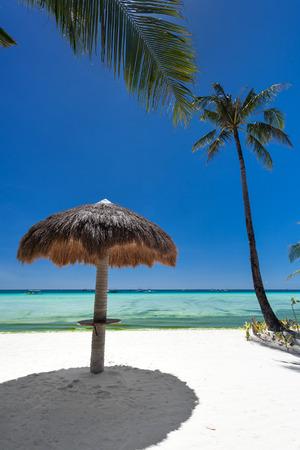boracay: Sun umbrella on tropical beach, Philippines, Boracay