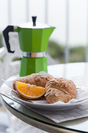 Delicious breakfast with coffee on hotel photo