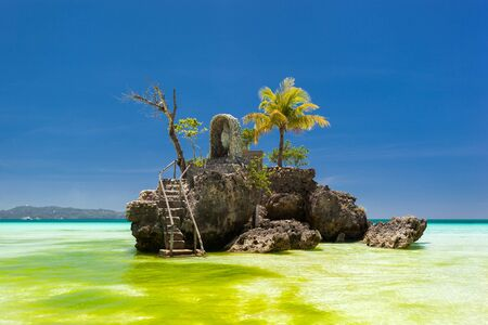 willy: Willys rock on island Boracay, Philippines. Boat Station One, White beach place.