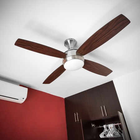 fan ceiling: Electric ceiling fan at the room Stock Photo