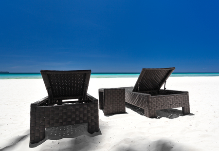 Beach beds on tropical coastline, Philippines, Boracay Stock Photo