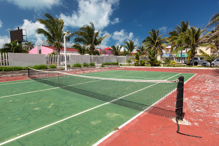 tennis net: Outdoor tennis net at court with nobody