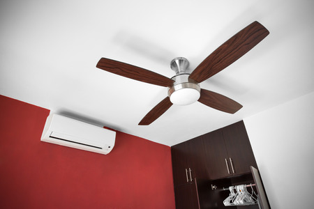 ceiling: Electric ceiling fan at the room Stock Photo