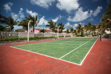 Outdoor empty tennis court Stock Photo