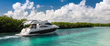 motor yacht: Luxury private motor yacht sailing out at sea