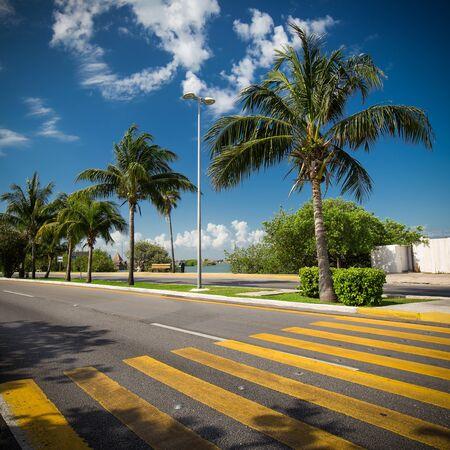 Voetgangersoversteekplaats op tropische straat weg