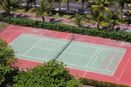 Outdoor empty tennis court, aerial view