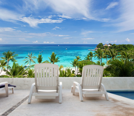 seaview: Tropical vacation. Seaview from luxury resort balcony