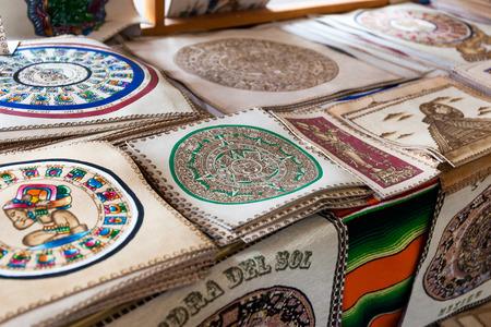 Mexico, Chichen Itza - 16 March 2015: Souvenir market with different goods