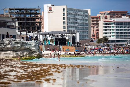 springbreak: MEXICO, CANCUN - 22 MARCH 2015: Spring Break party on caribbean sea beach