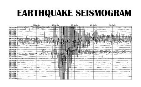 sismográfo: Medición sísmica registrada en la tarjeta sismograma Foto de archivo