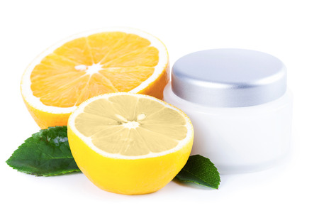 Organic nutrition facial cream with vitamin C, skincare organic concept