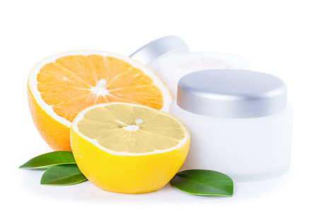 Organic nutrition facial cream with vitamin C, skincare organic concept