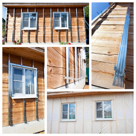 building external: Collage with process of external wall insulation in wooden house, building under construction