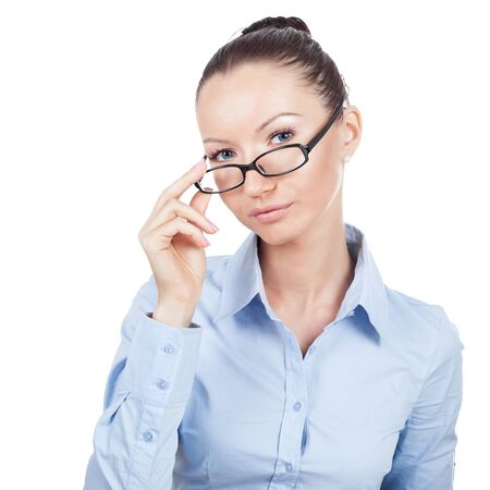 Businesswoman on workplace with glasses in hand photo