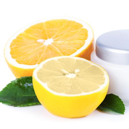 revitalizing: Organic nutrition facial cream with vitamin C, skincare organic concept